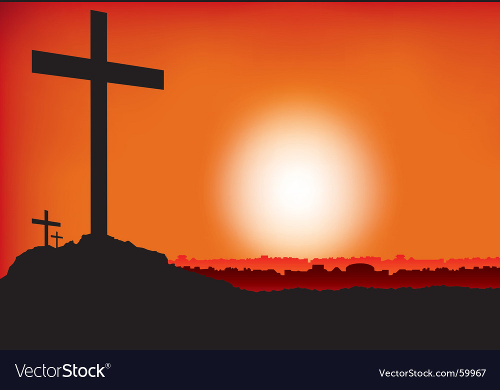 Crosses at sunset vector