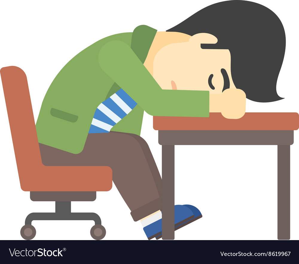 Man sleeping on table vector