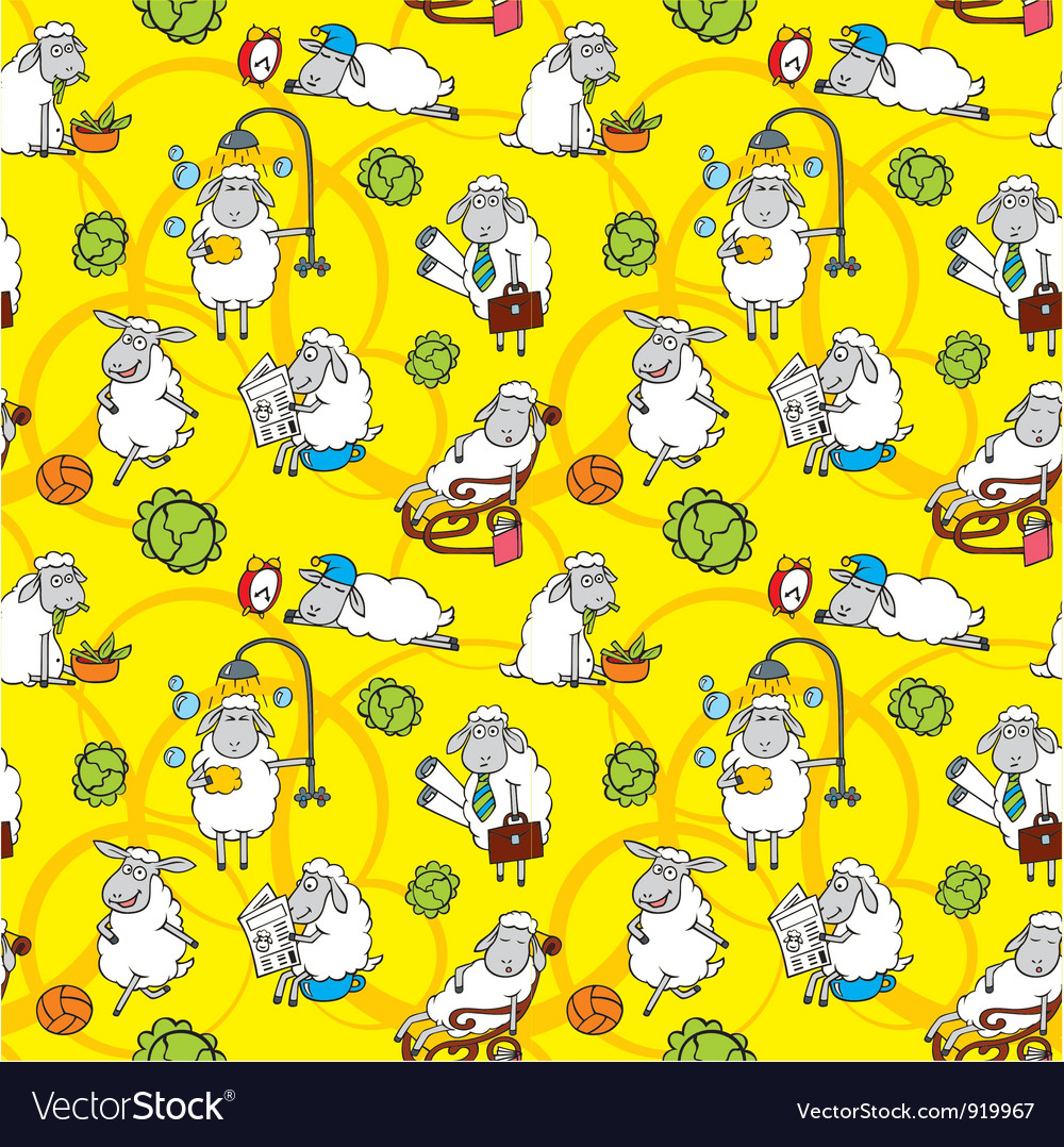 Pattern with cartoon sheep vector