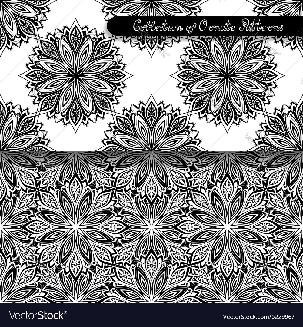 Set of 2 seamless vintage patterns vector