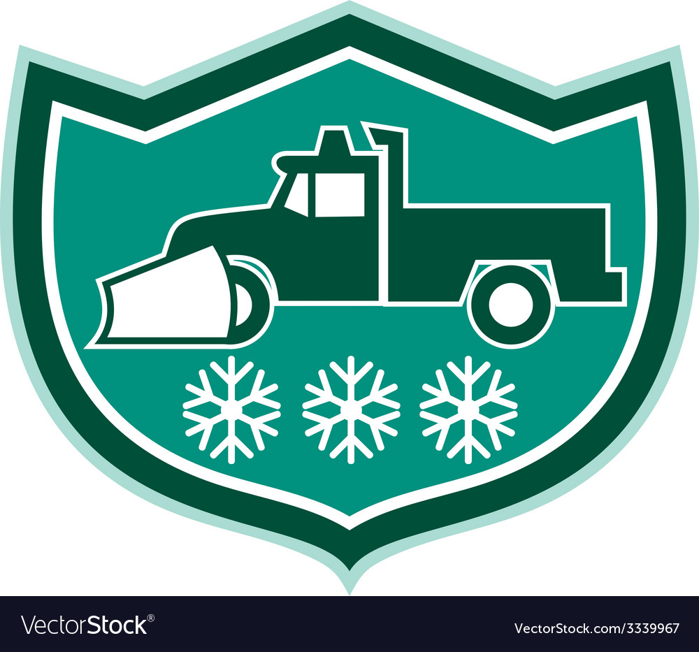 Snow plow truck snowflakes shield retro vector