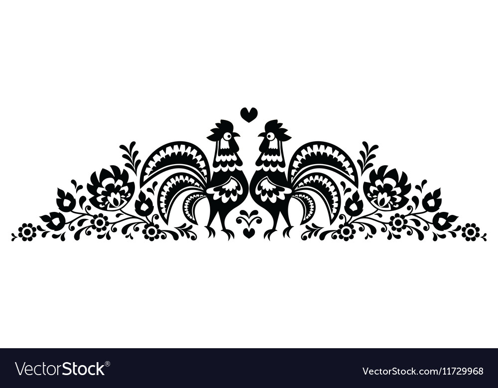 Polish floral folk art long embroidery pattern vector