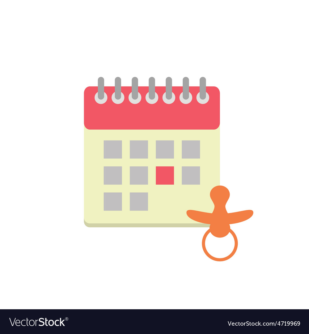 Flat style calendar icon with nipple vector