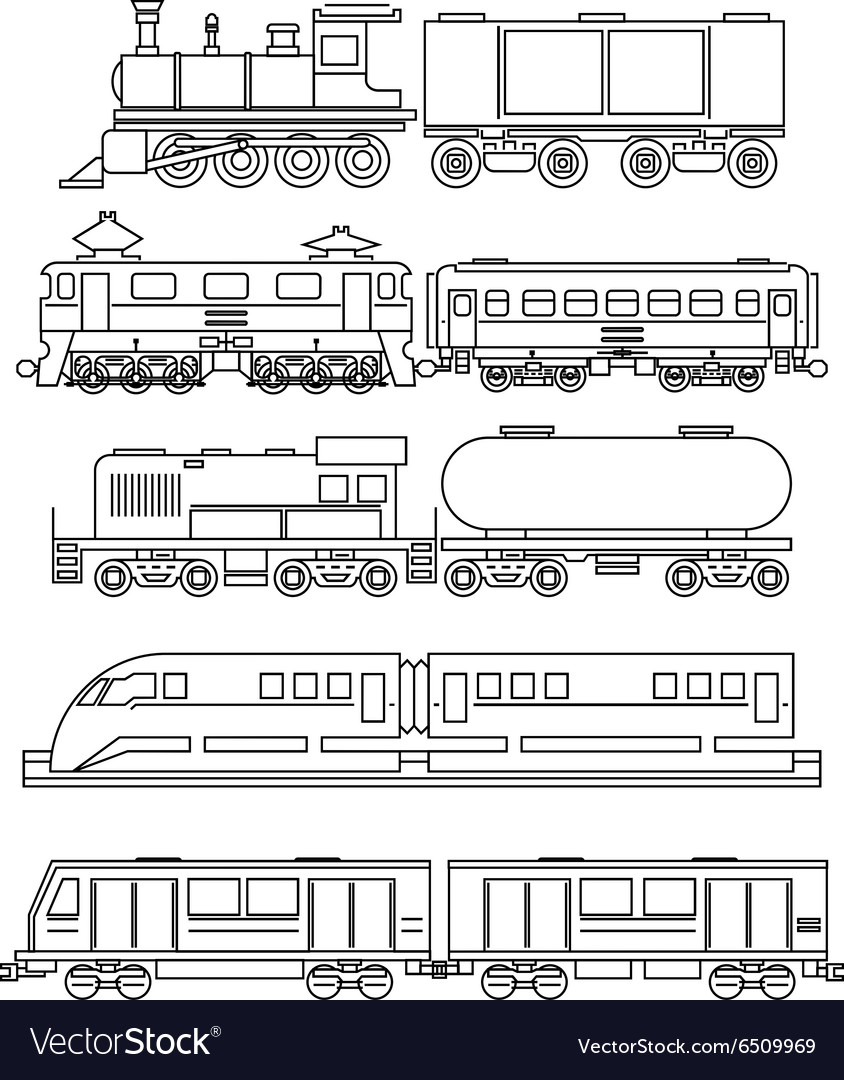 Line art train icons vector