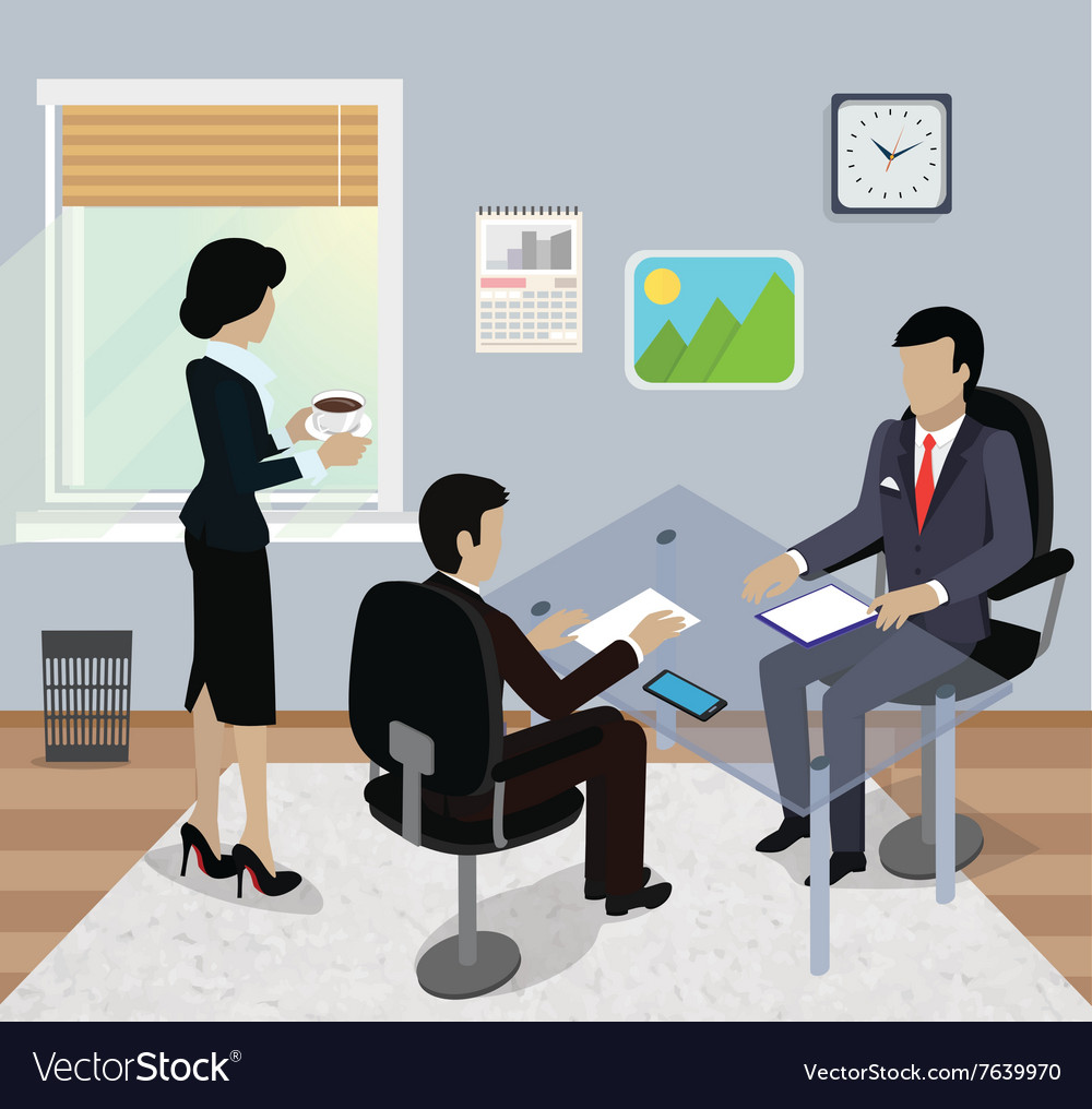 Isometric business meeting in office flat design vector