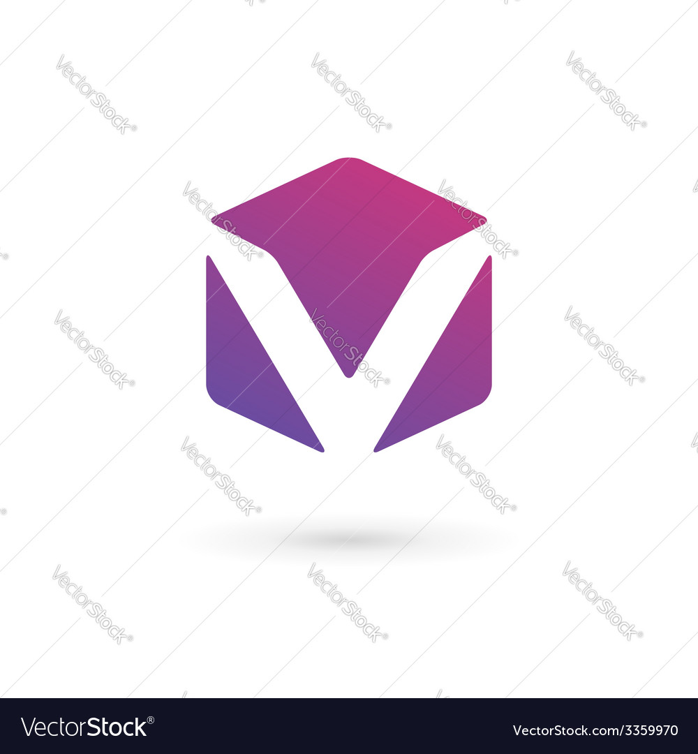 Letter v cube logo icon design template elements vector