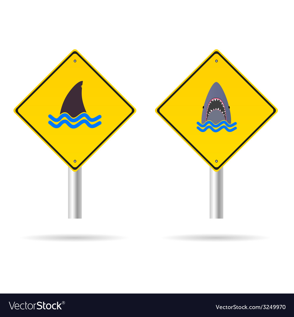Shark yellow sign vector