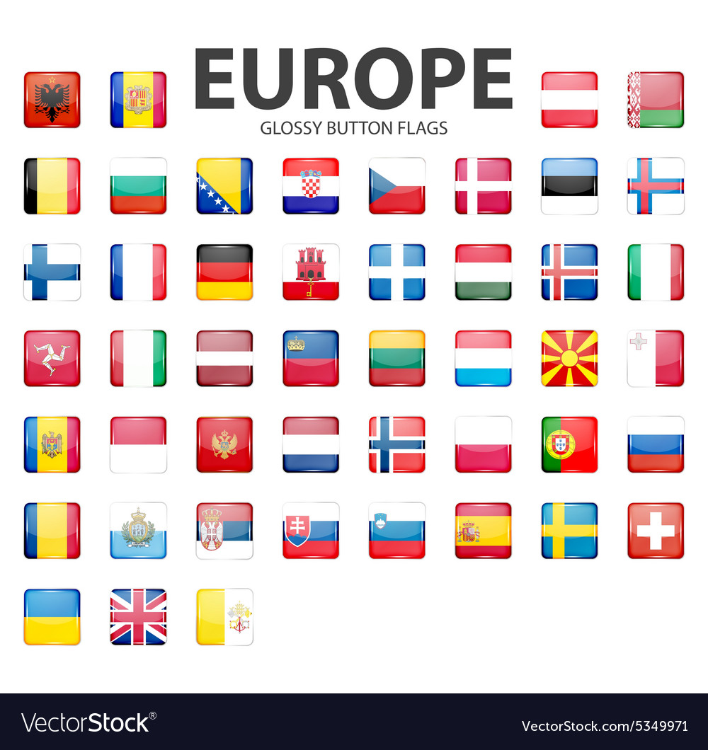 Glossy button flags  europe original colors vector