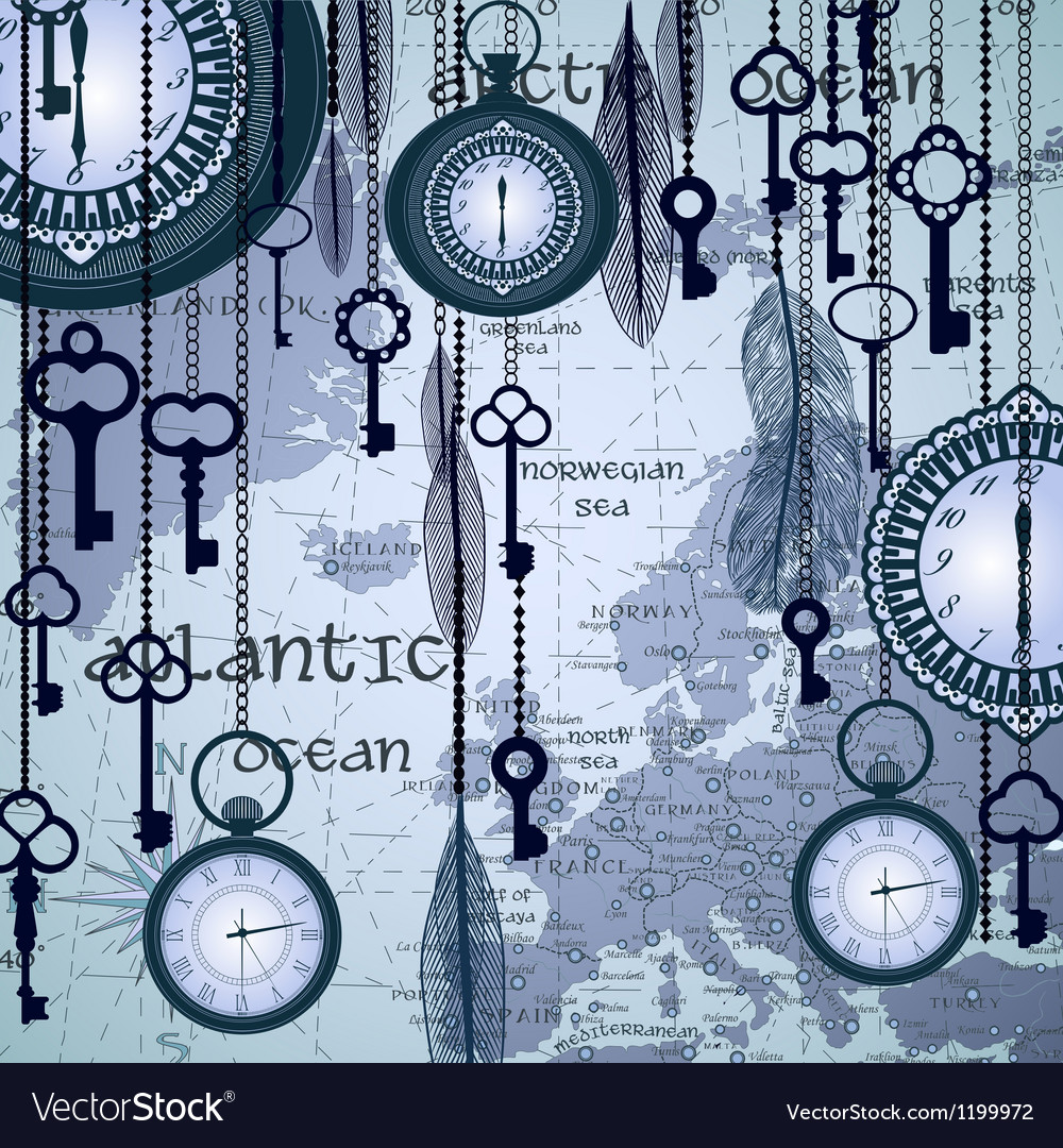 Antique background with map and clocks vector