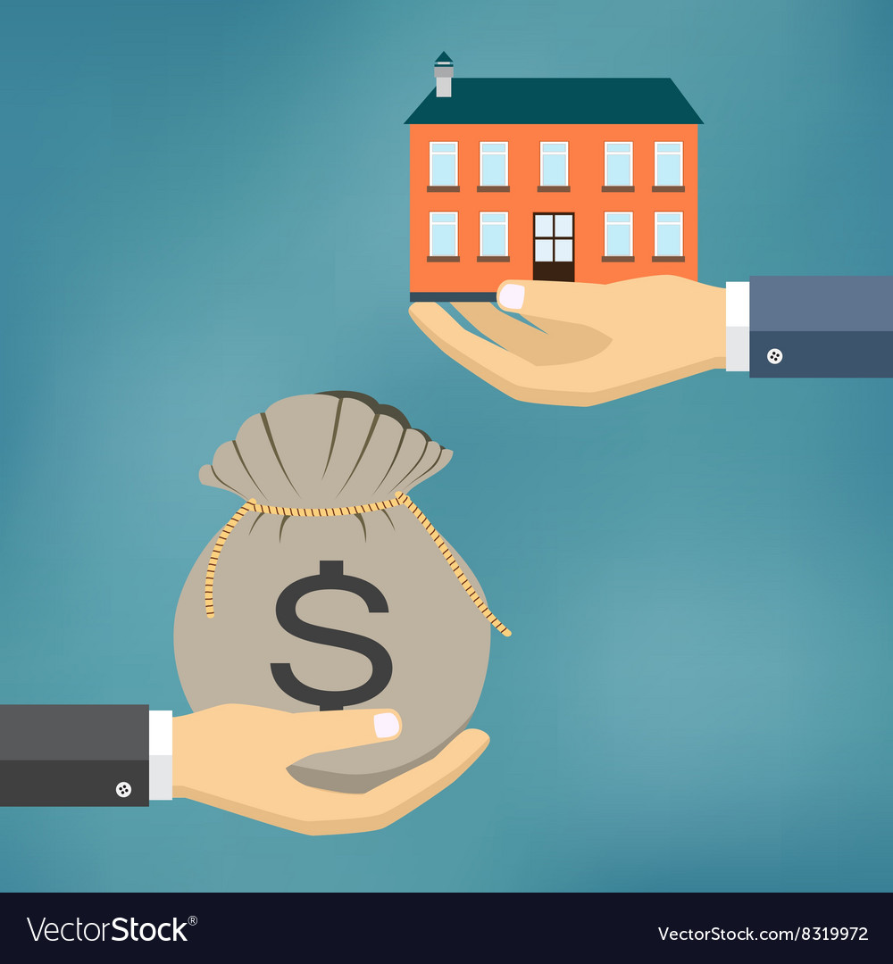 Hands with house and money bag vector
