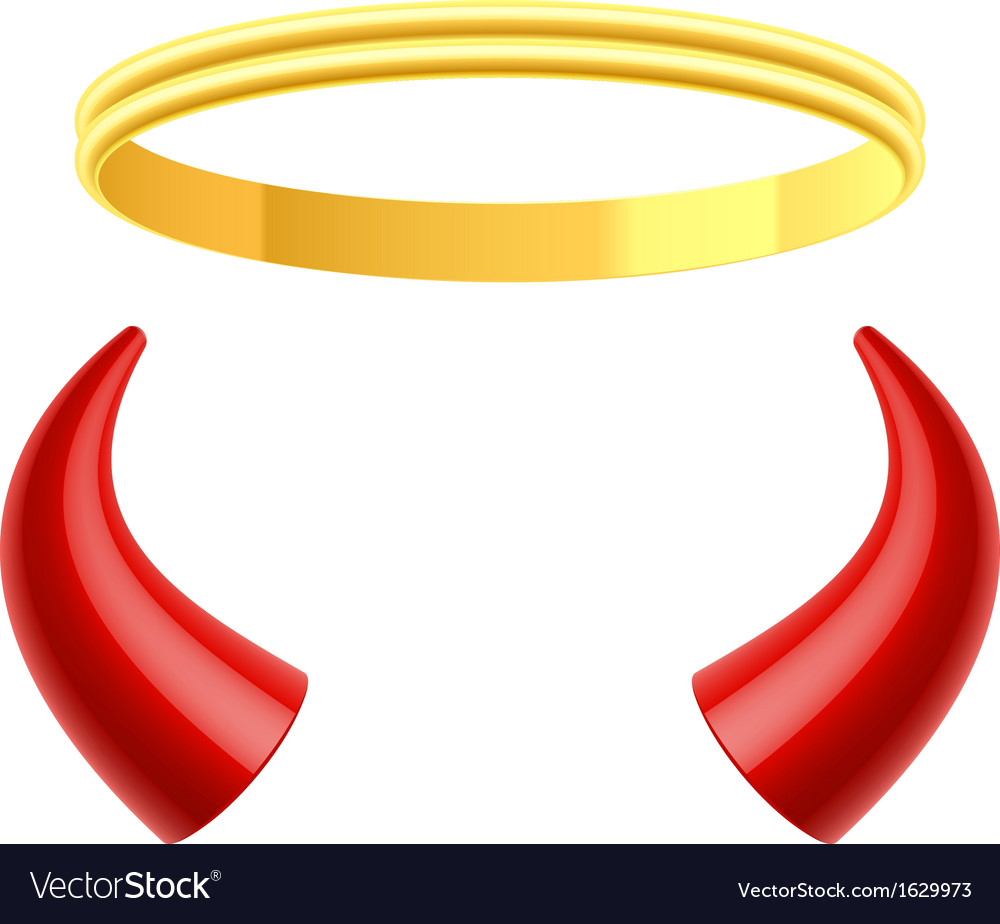 Angels halo and devils horns vector