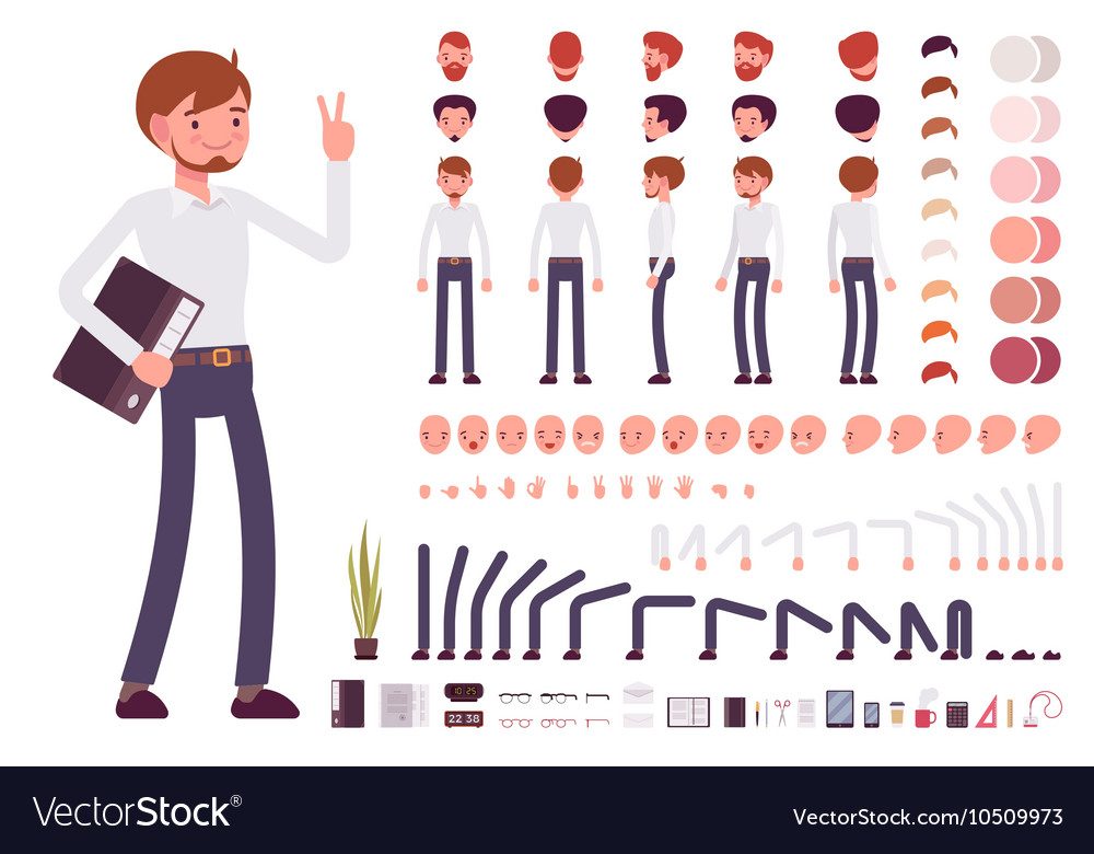 Male clerk character creation set vector