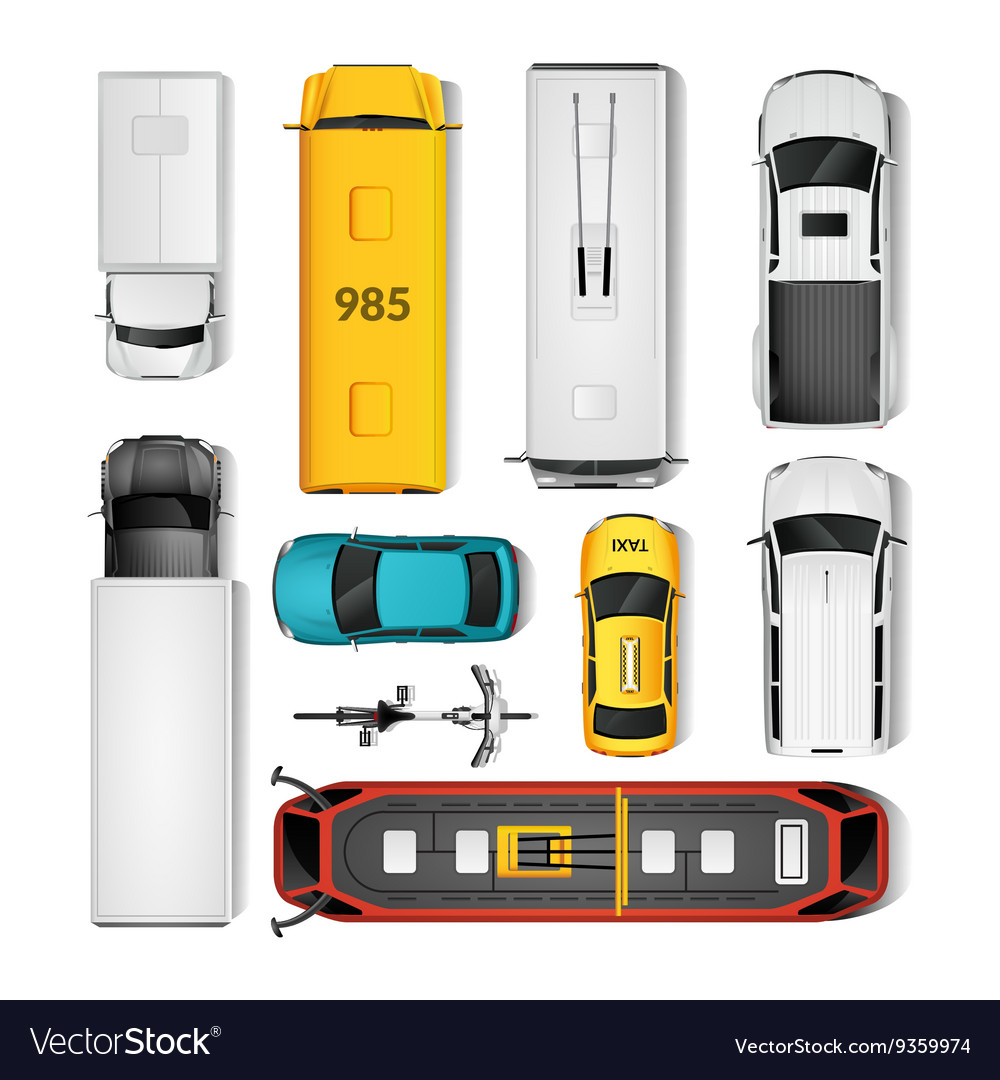 City transport top view set vector