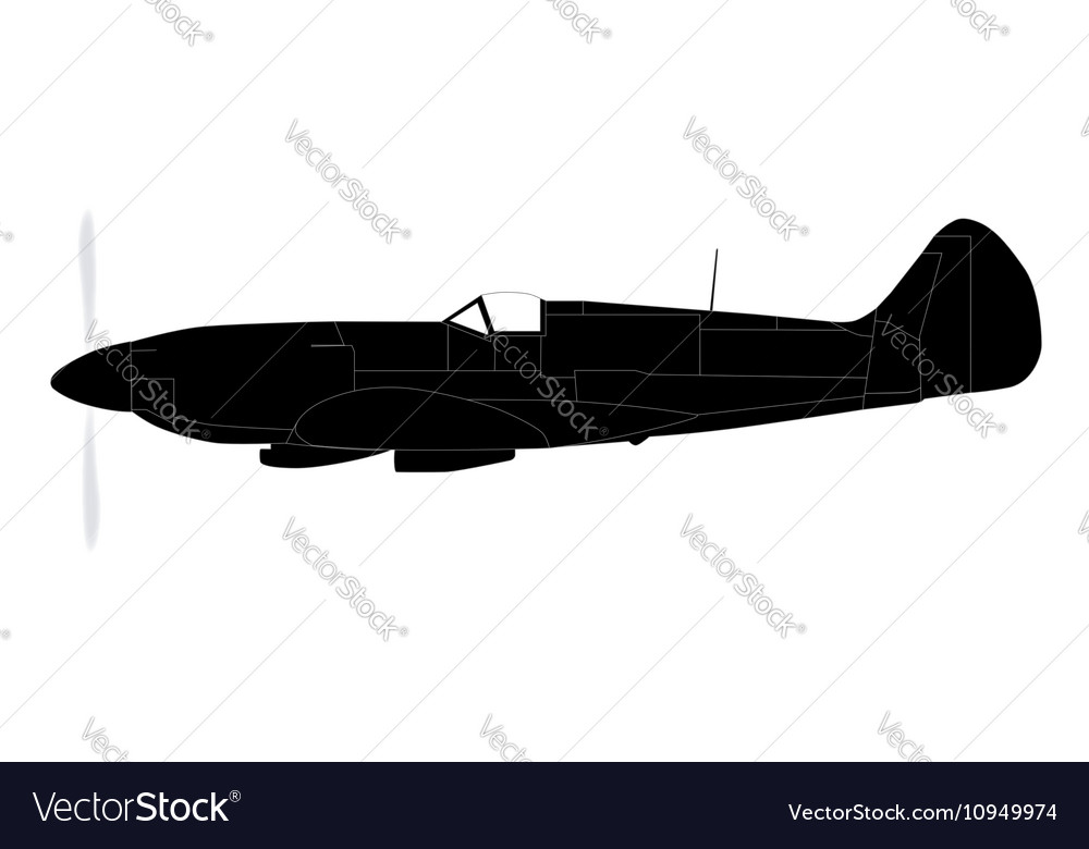 Fighter plane silhouette vector
