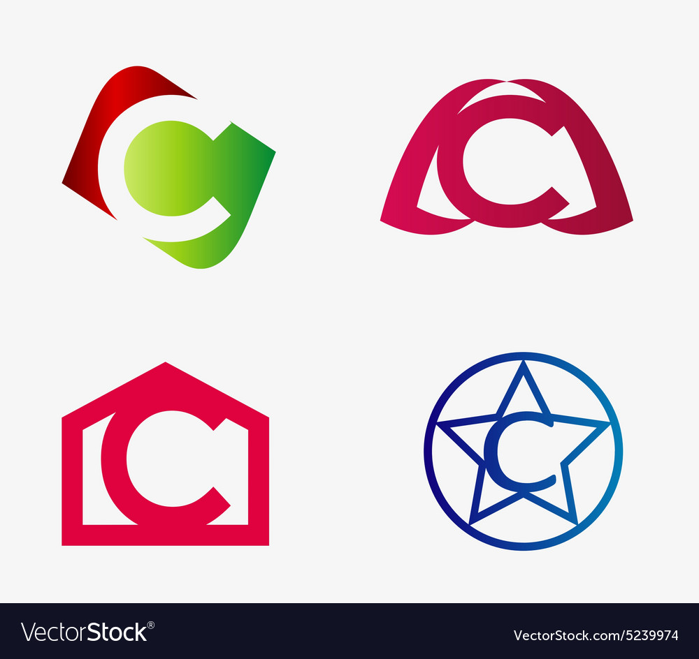 Set of abstract icons based on the letter c vector