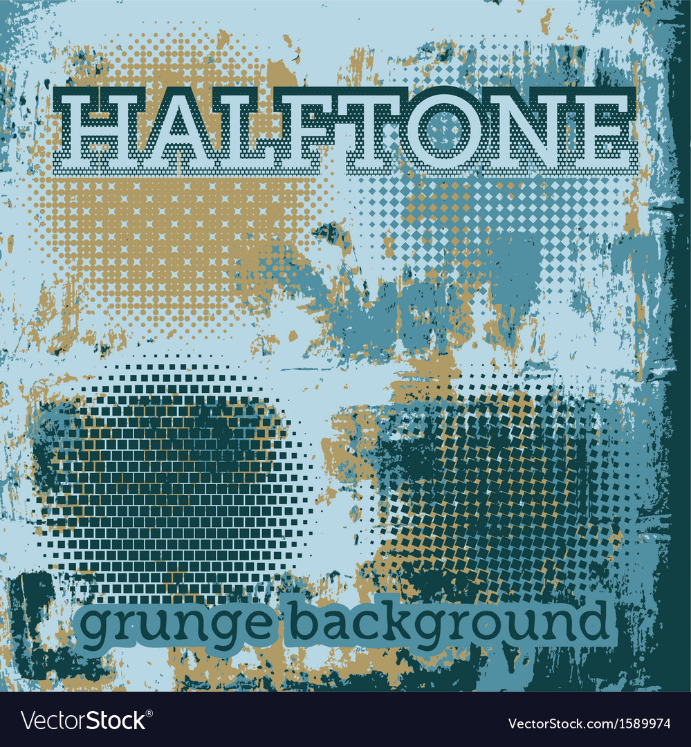 Set of halftone on the grunge background vector