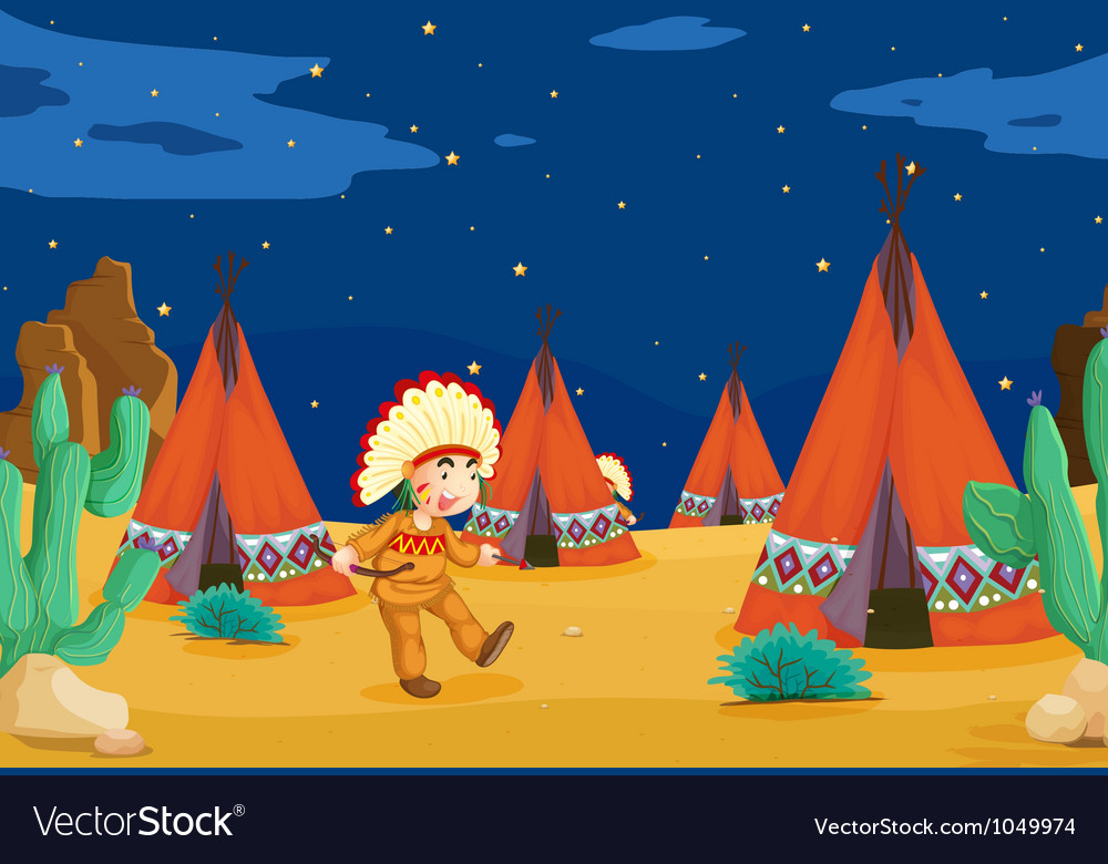Tent house and kid vector