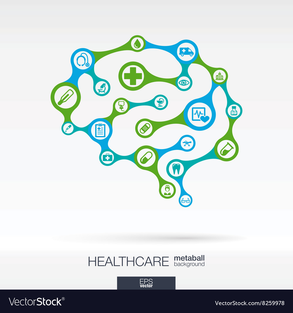 Brain concept with medical health healthcare vector