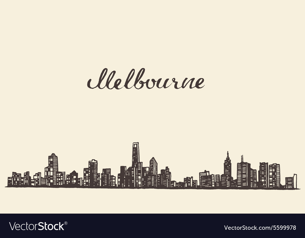 Melbourne skyline engraved drawn sketch vector