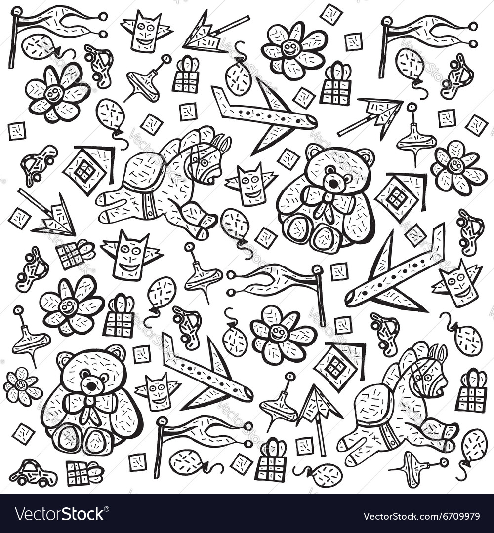 Child pattern with cute toy elements vector