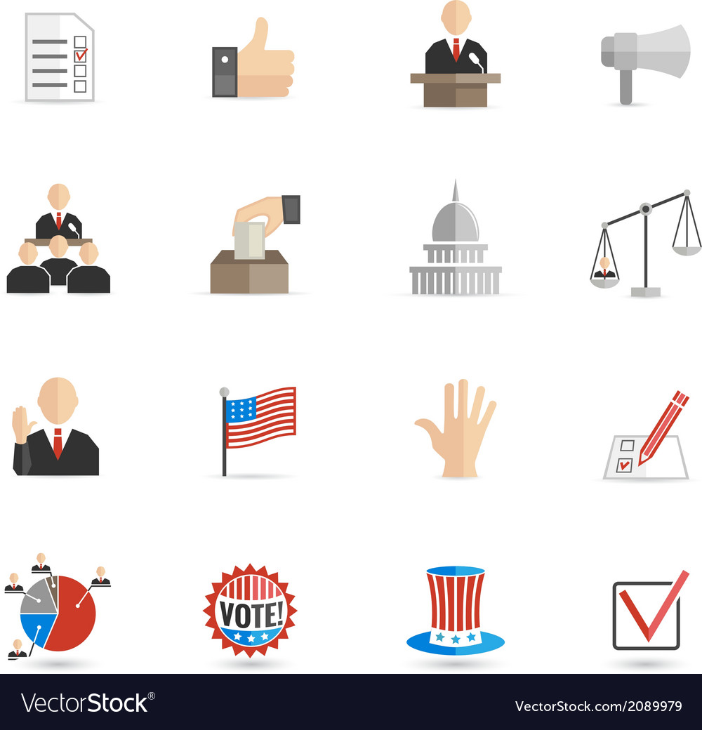 Elections icons flat set vector