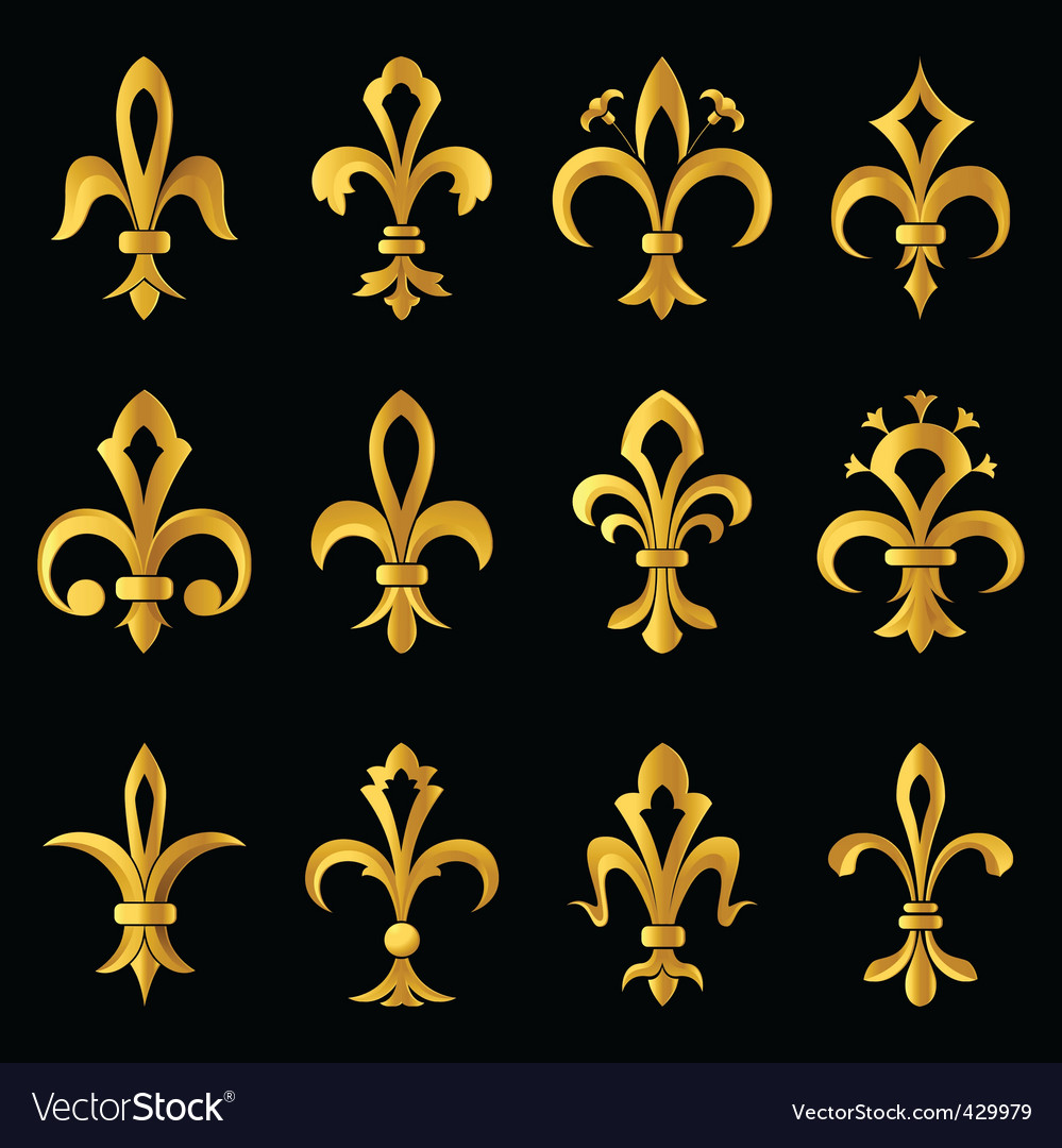 Fleurdelis golden set vector