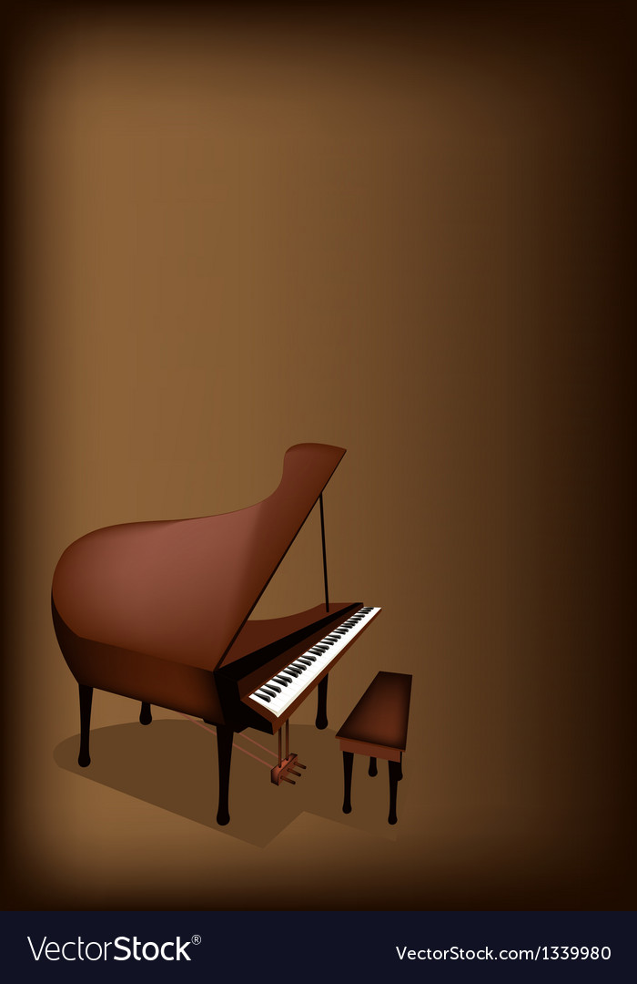 A retro grand piano on dark brown background vector