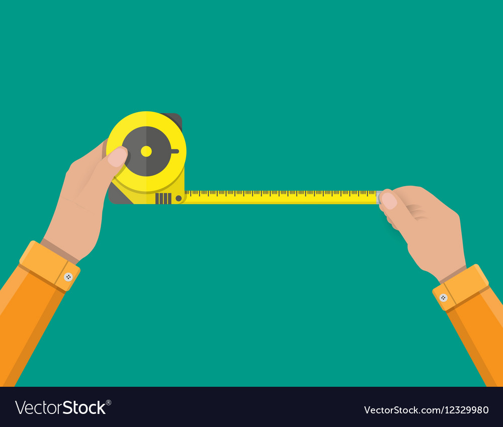 Mens hands hold measuring tape vector