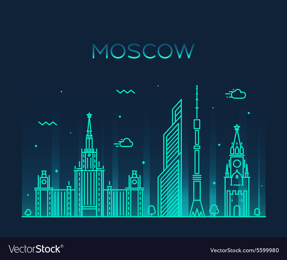 Moscow skyline trendy linear vector