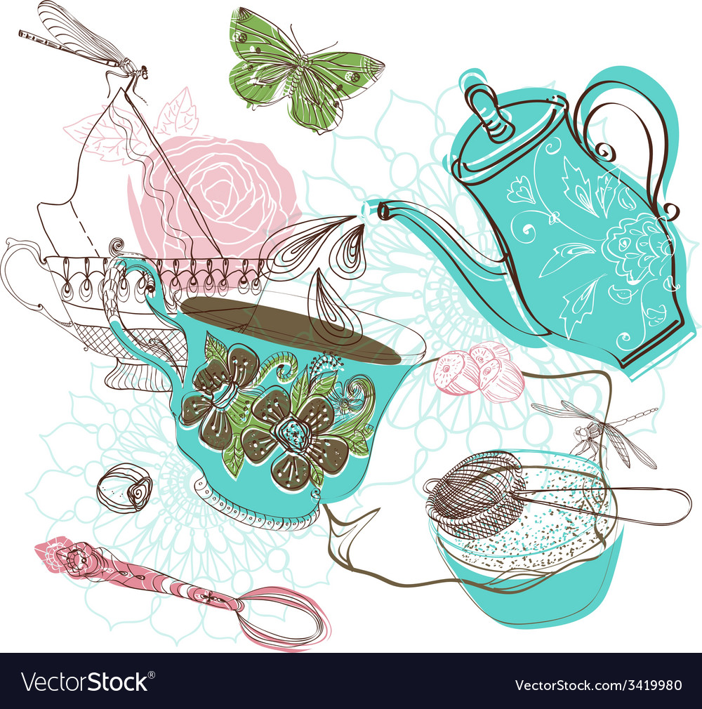 Tea time with flowers vector