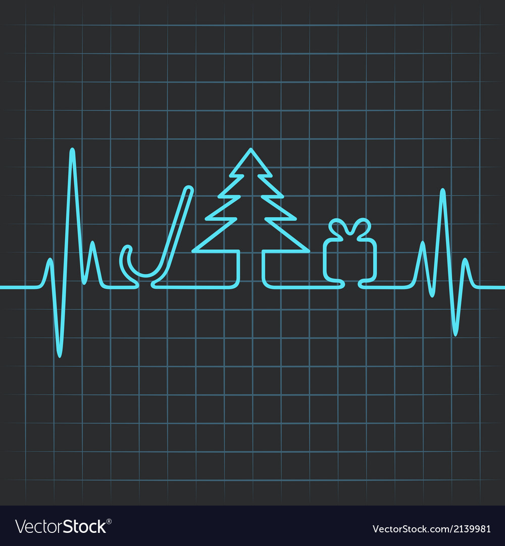 Heartbeat make christmas symbols vector