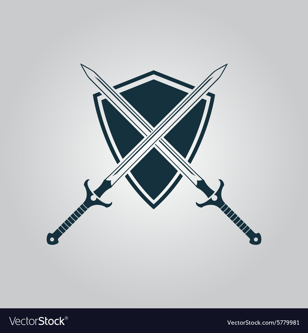 Two swords and shiel vector
