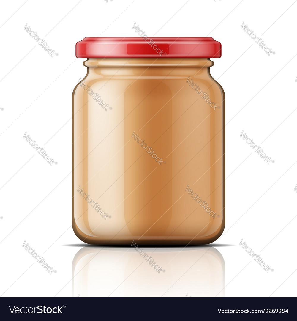 Glass jar with peanut butter vector