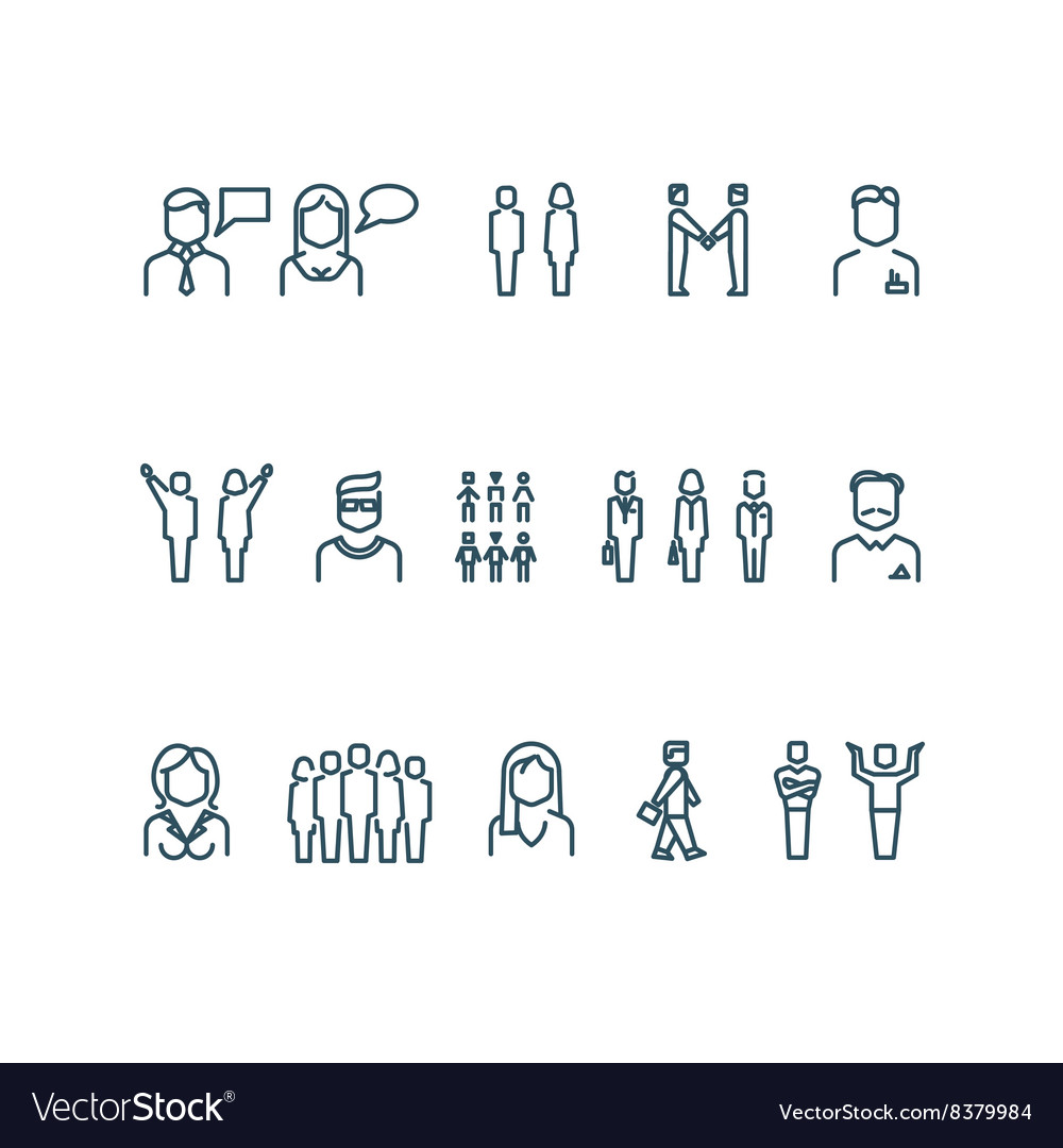 People outline icons vector