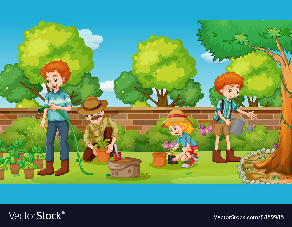 Family members happy in the garden vector