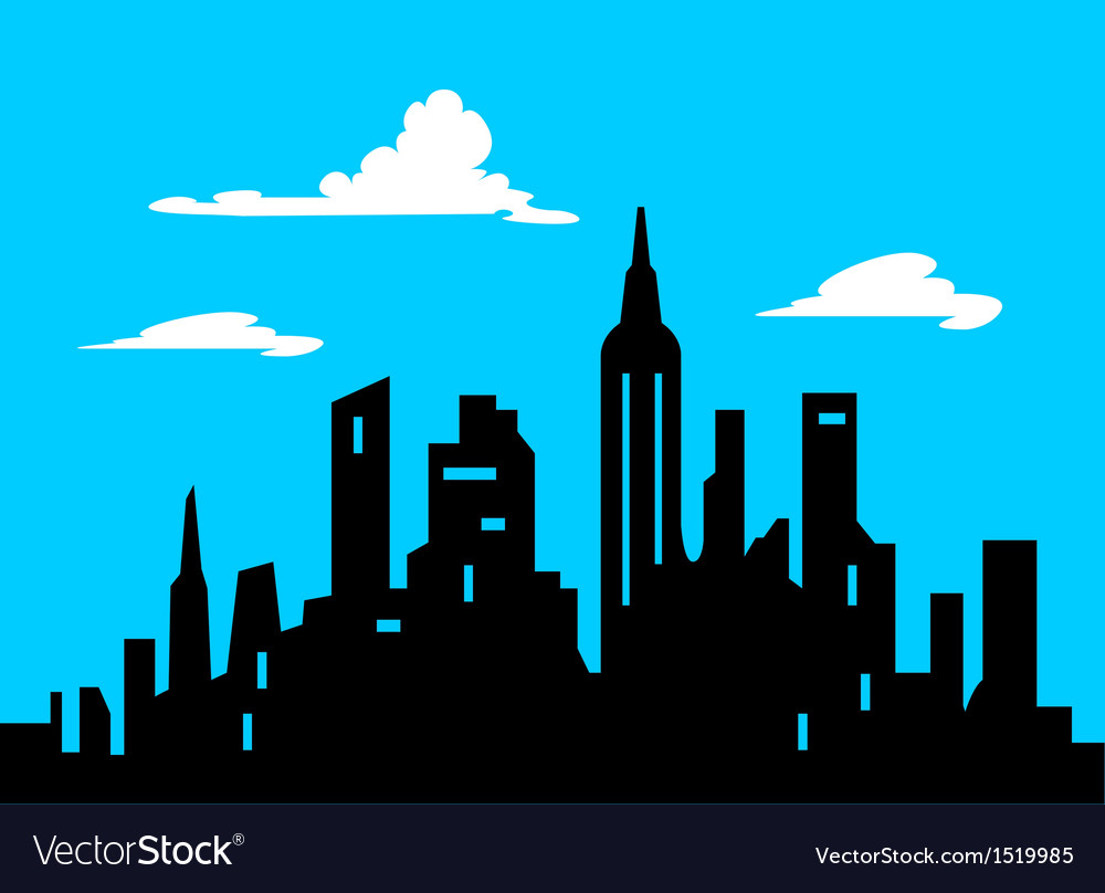 Graphic style cartoon city skyline vector