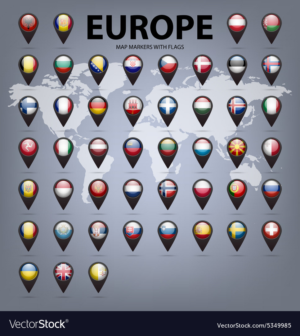 Map markers with flags  europe original colors vector