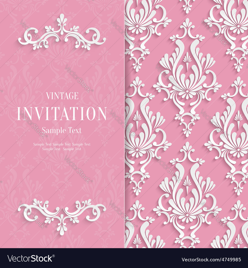 Pink floral 3d wedding invitation vector