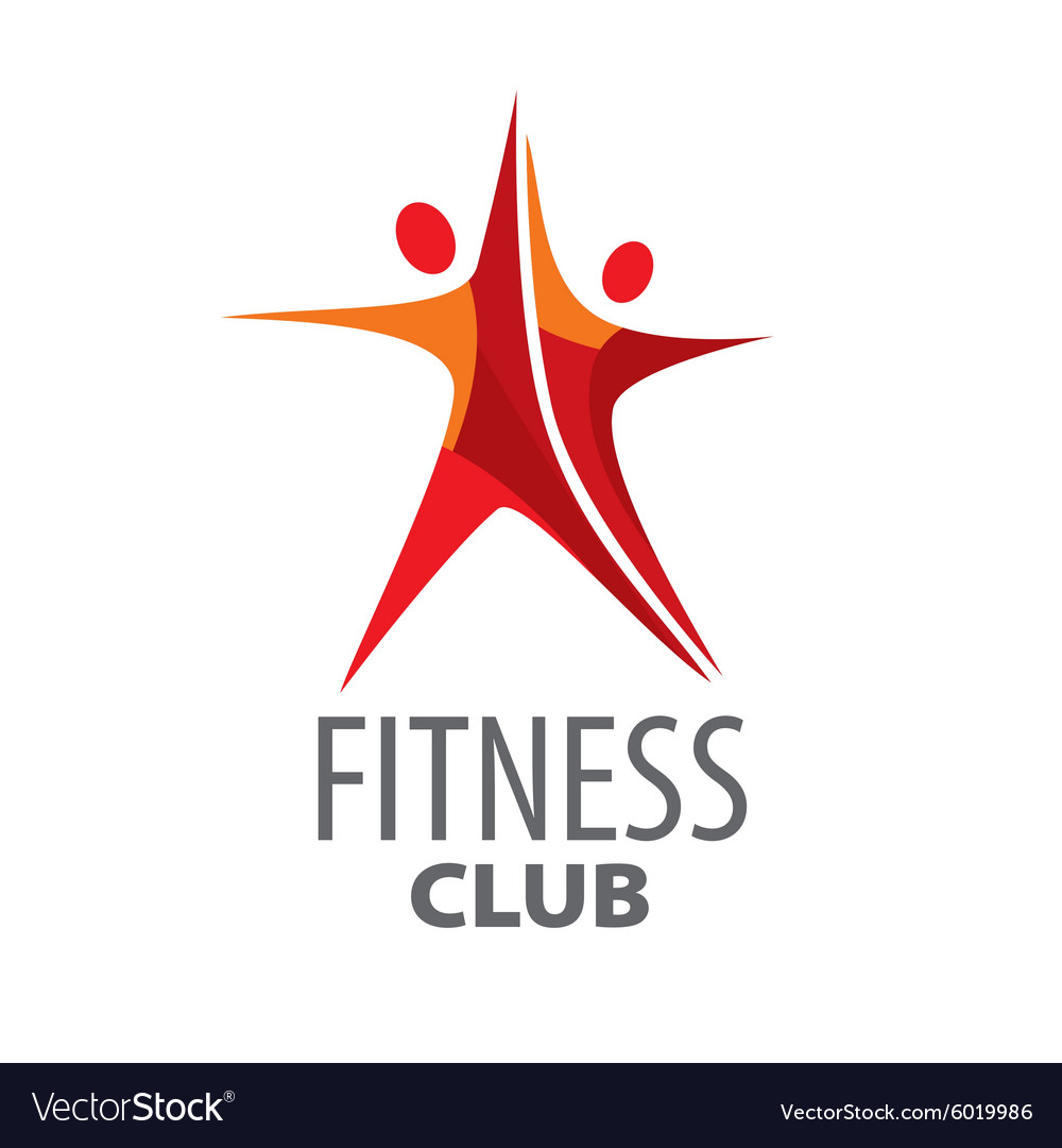 Logo for fitness in the form of a red star vector