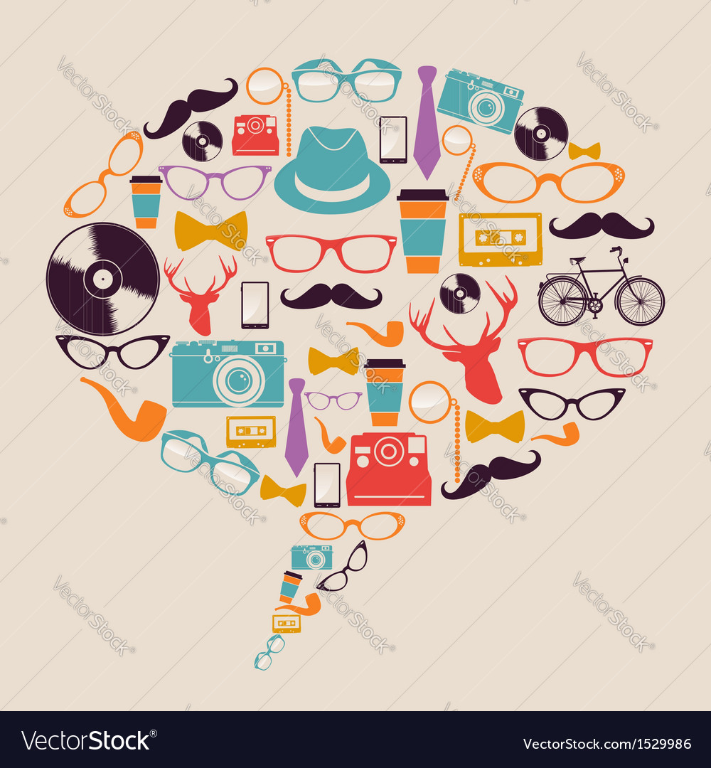 Retro hipster icons social media vector