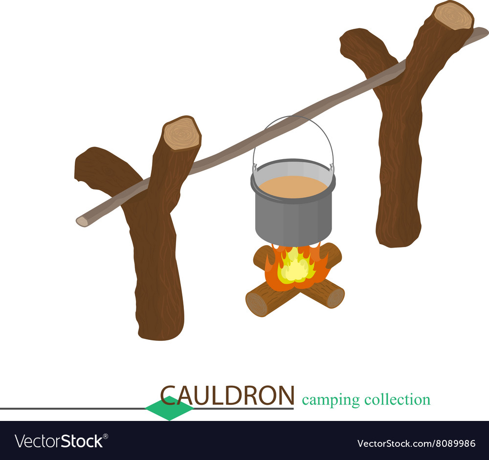Soup is cooked in a cauldron isometric vector