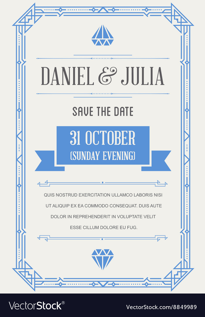 Great quality style invitation in art deco or vector