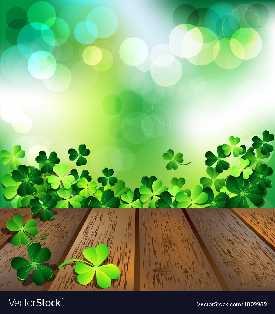 Shamrock on wooden floor for st patricks day card vector