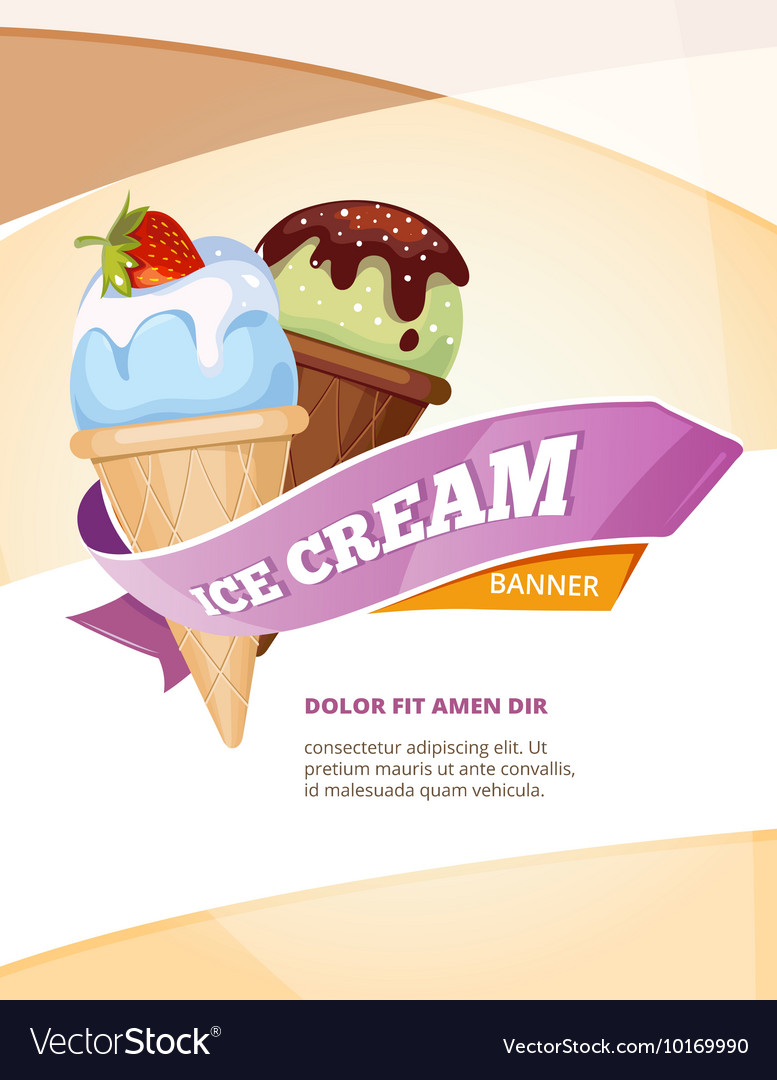 Delicious ice cream vintage poster template vector