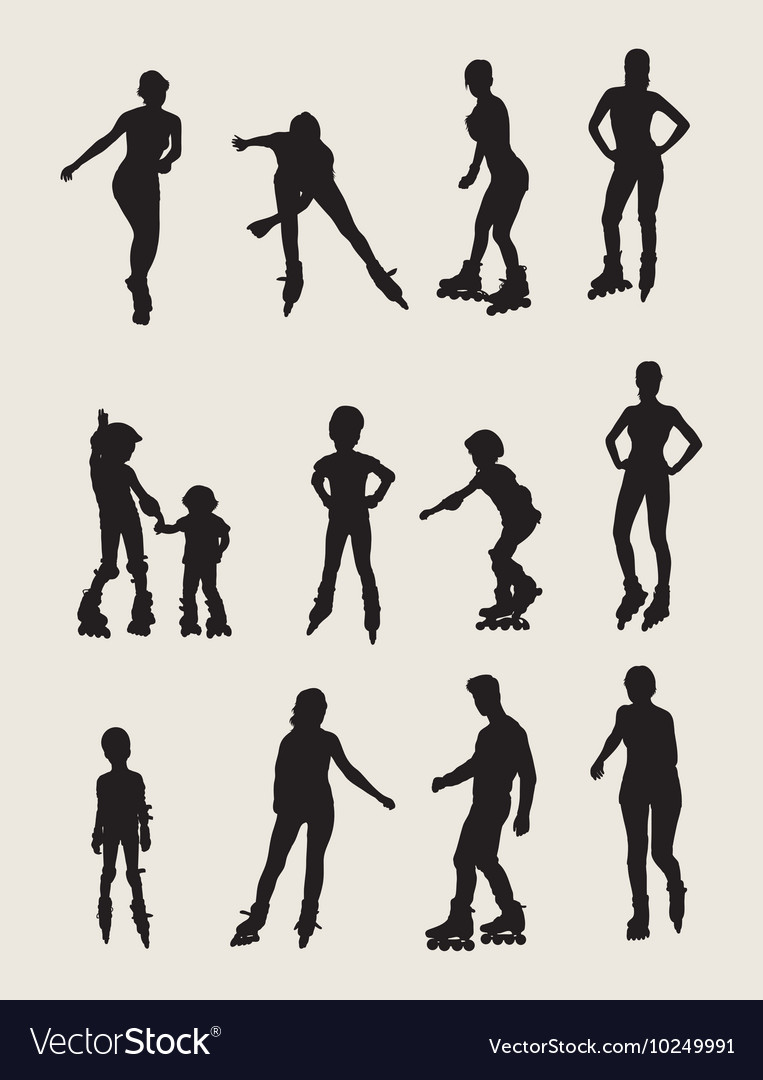 Roller skates silhouettes vector