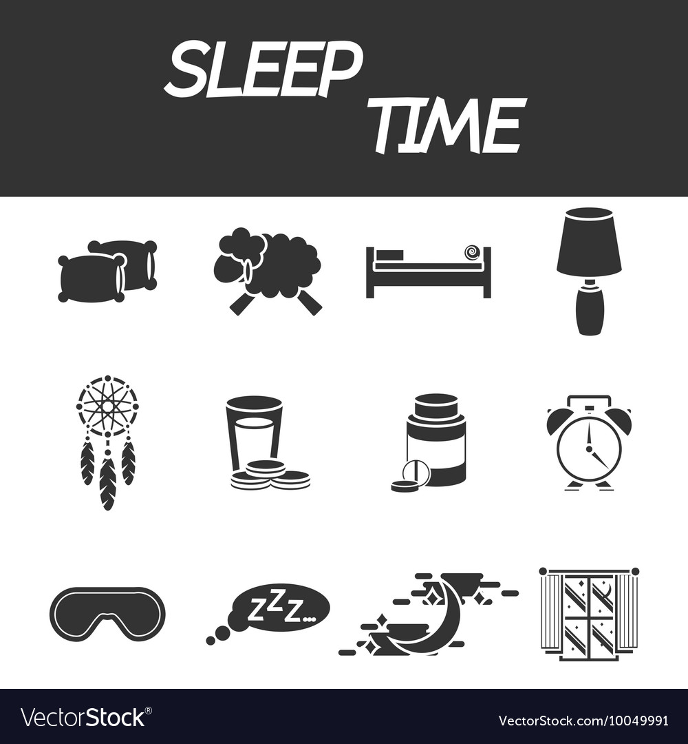 Sleep time icon set vector
