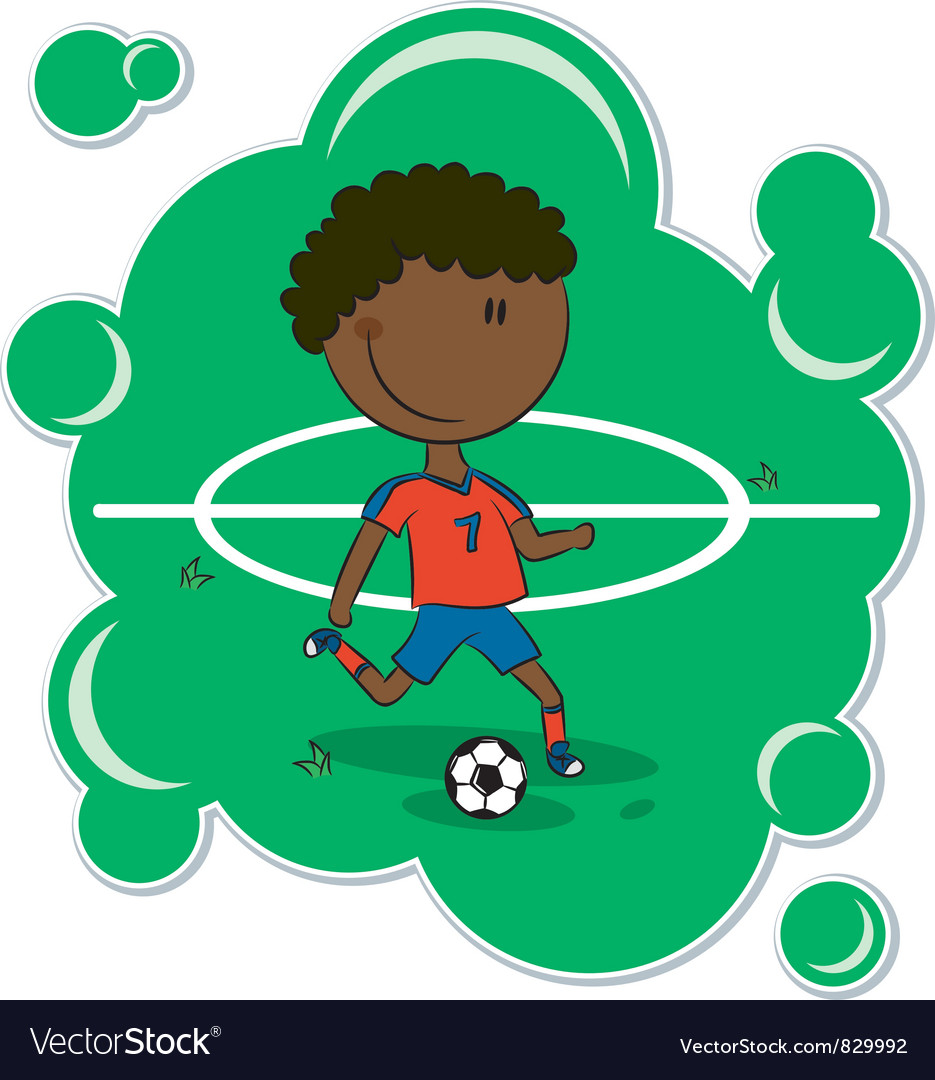 Africanamerican soccer player vector