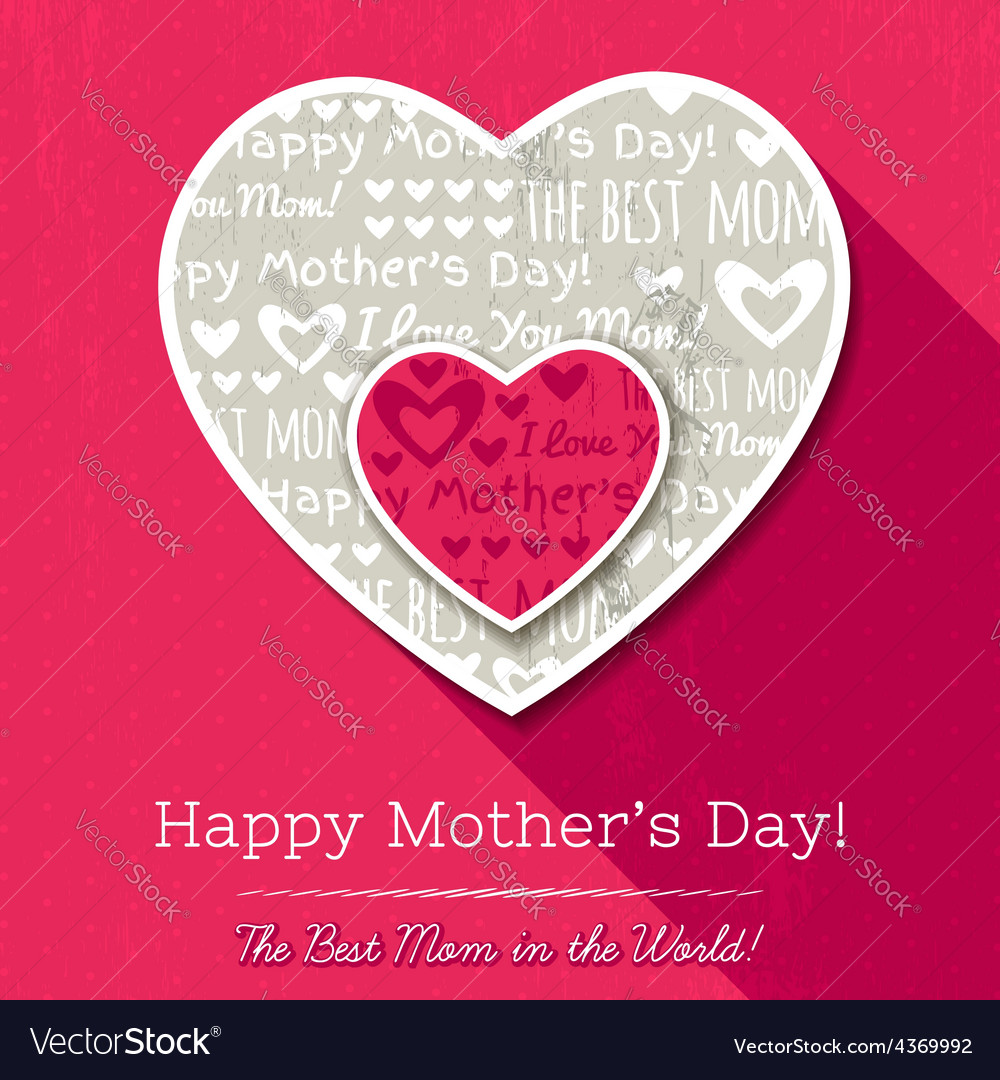 Red background with hearts for mothers day vector