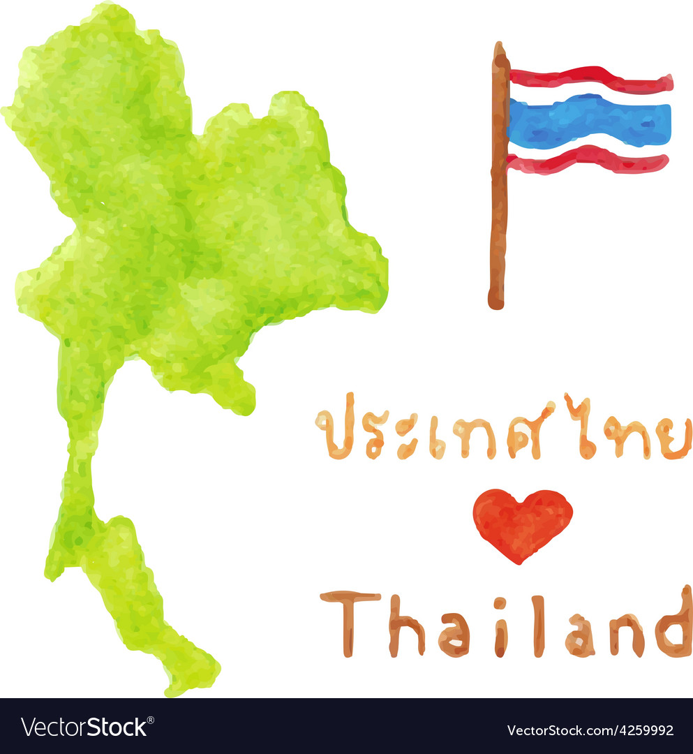 Thailand map and flag vector