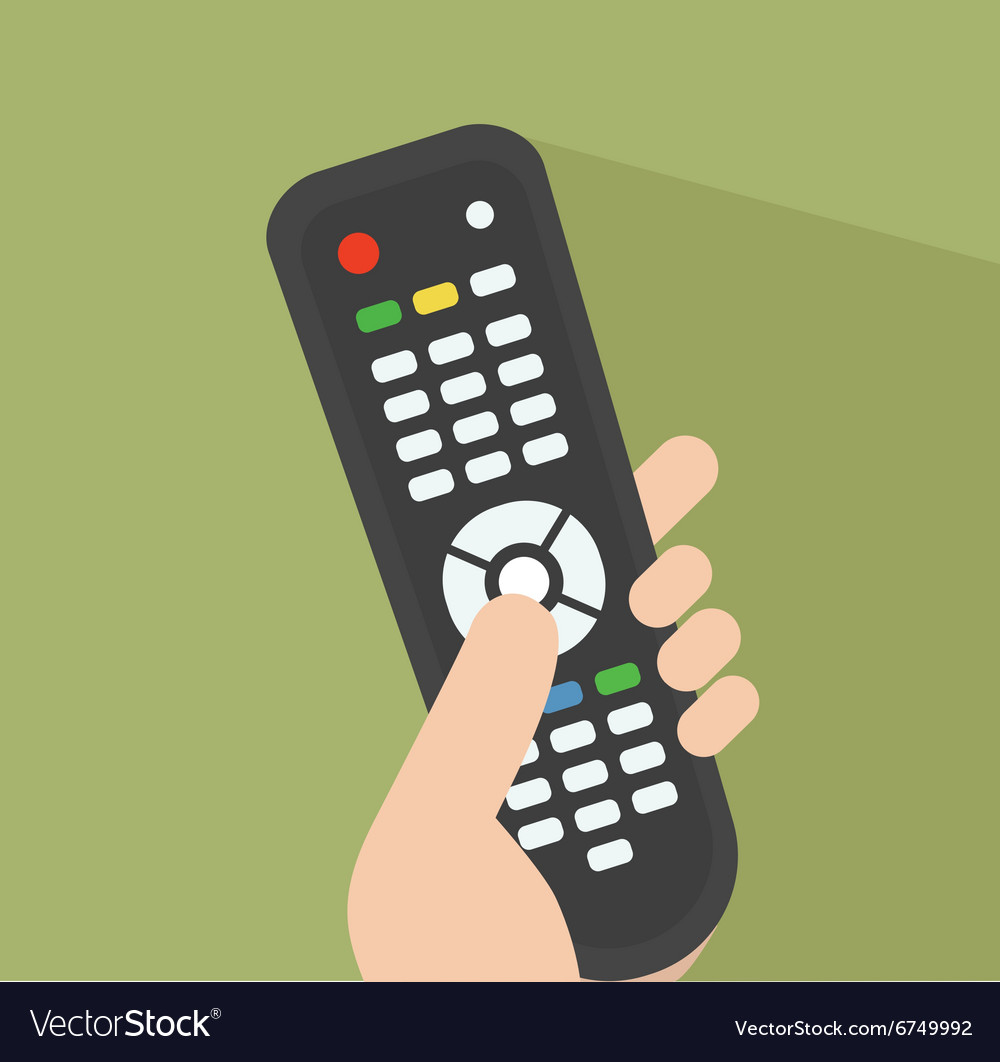 Tv remote pointed at screen vector